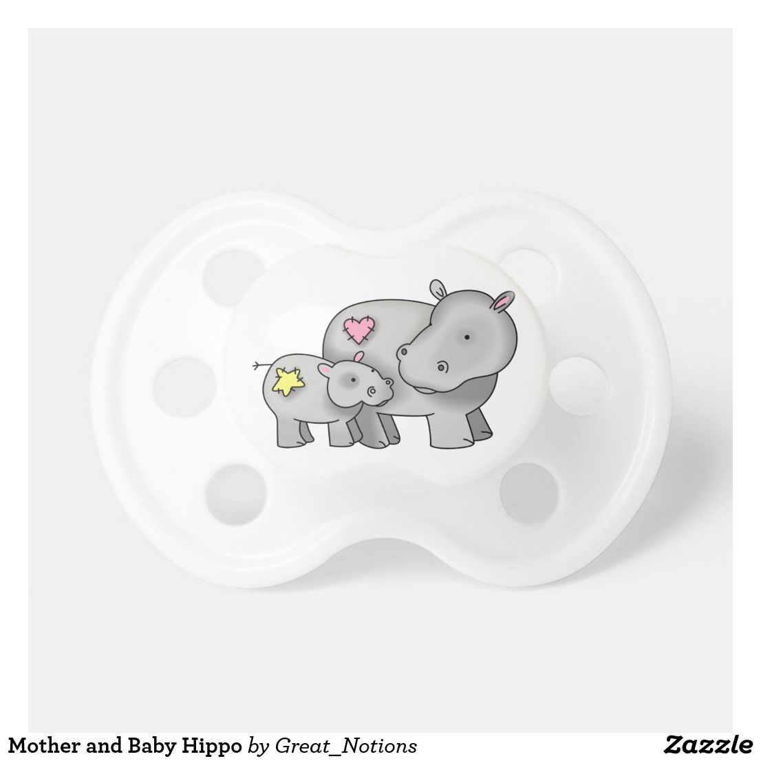 Mother and Baby Hippo Pacifier | Zazzle.com #babyhippo