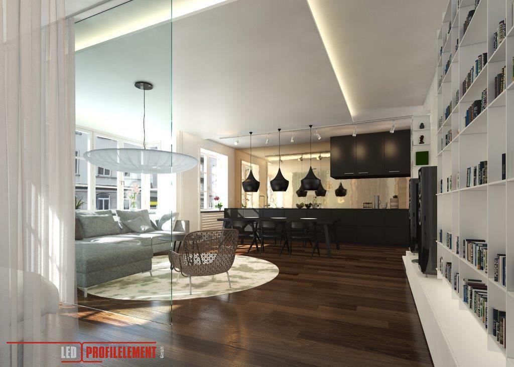 Wohnzimmer mit Indirekte Beleuchtung durch LED Profile und LED - wohnzimmer beleuchtung indirekt