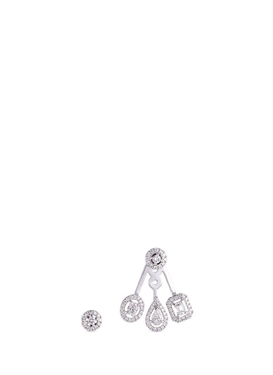 My Twin Trio 18-karat White Gold Diamond Earrings - one size Messika 1xRlH08e6
