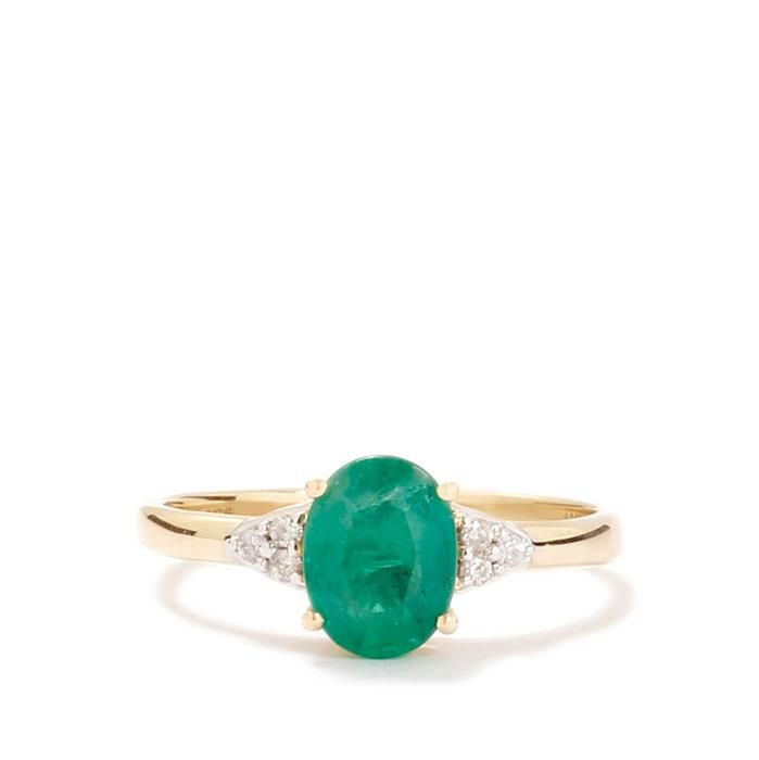 Zambian Emerald Ring with Diamond in 9K Gold 1.16cts