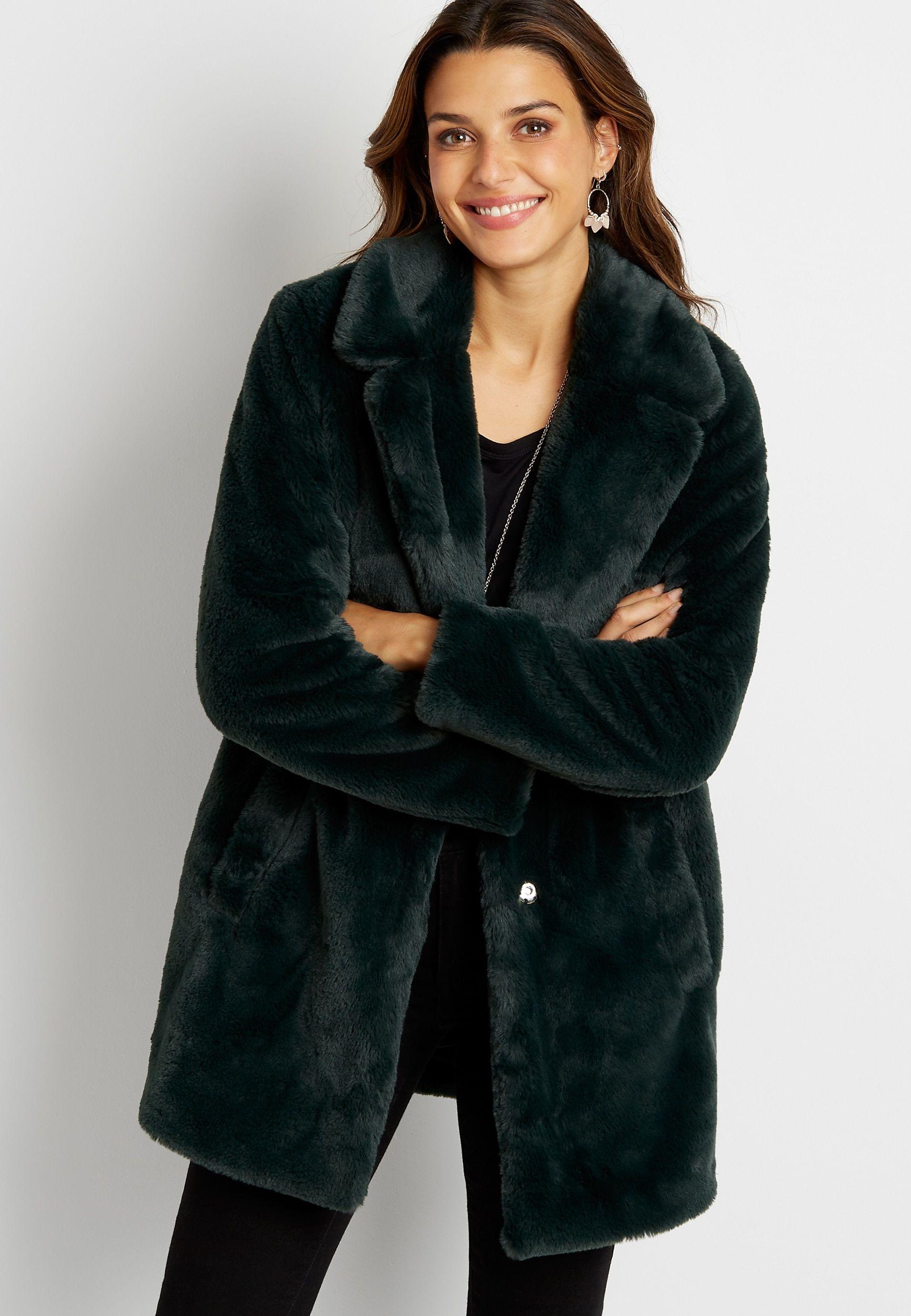 Dark Green Faux Fur Outerwear Jacket Faux Fur Outerwear Green Faux Fur Coat Fur Outerwear [ 2500 x 1732 Pixel ]