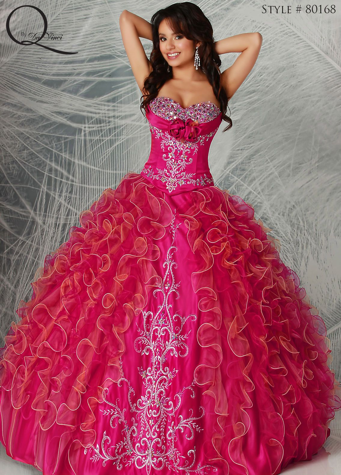 c67bc8afb1 Hot Pink Gold Silver Quinceanera dress ~ Quinceanera dresses from Q by  Davinci  quince XV años. Available in Dark Fuchsia Gold