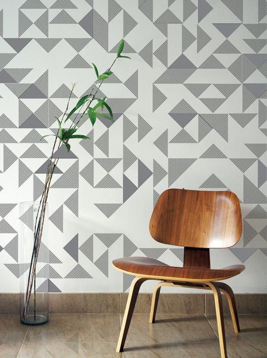 Stitched Style Embroidered Accents For Your Home Geometric Wall Decor Interior Wallpaper Decor