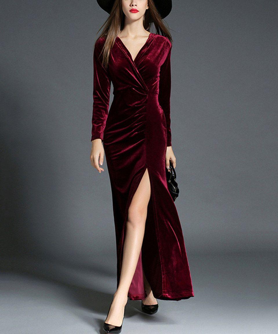 Red wine velvet sideslit vneck dress by vicky and lucas zulily