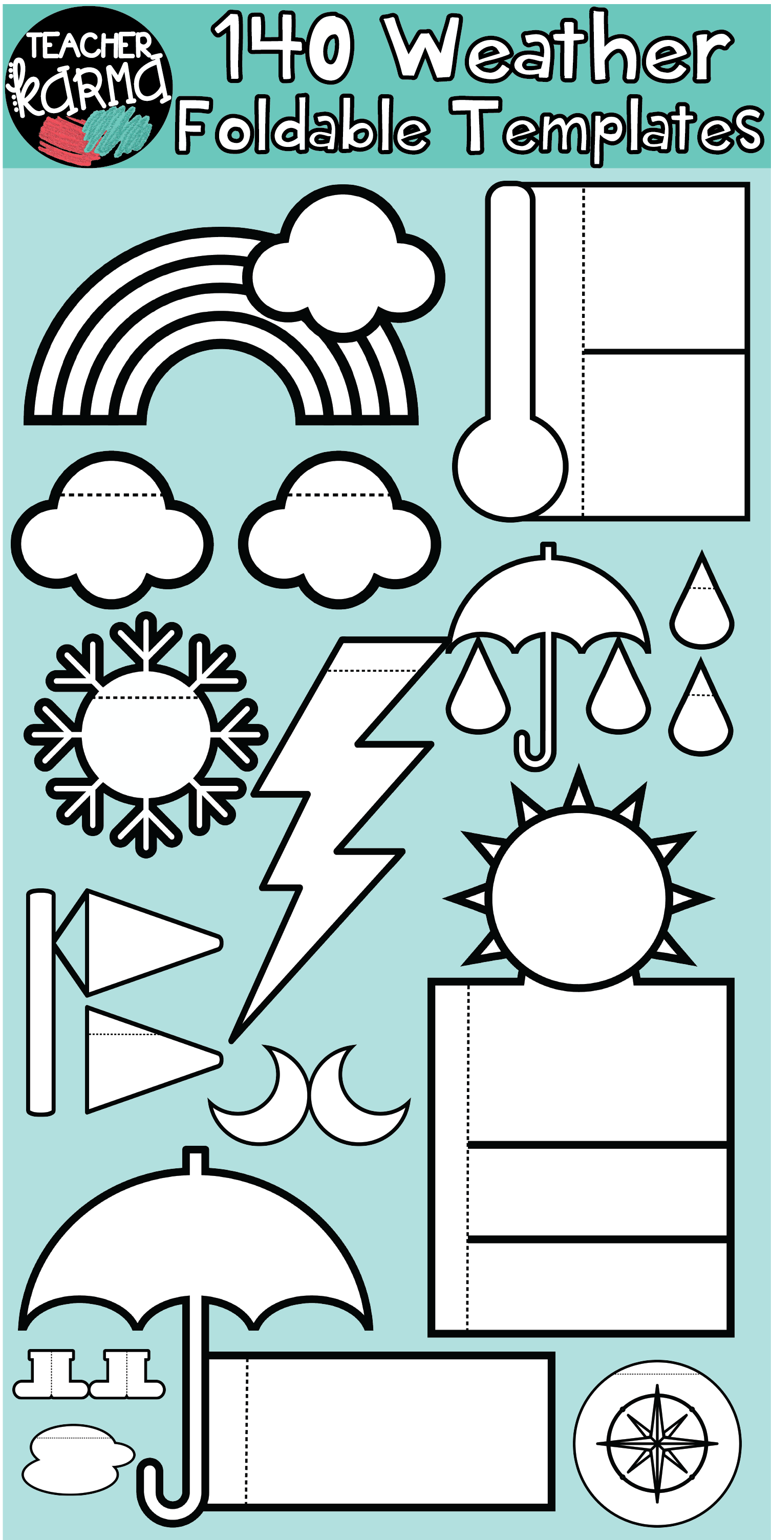Weather 140 Foldables Interactives Flip Book Templates