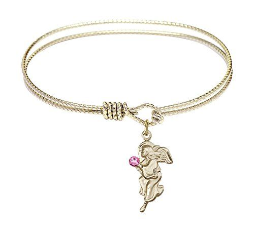Bonyak Jewelry 18 Inch Rhodium Plated Necklace w// 4mm White April Birth Month Stone Beads and Guardian Angel Charm