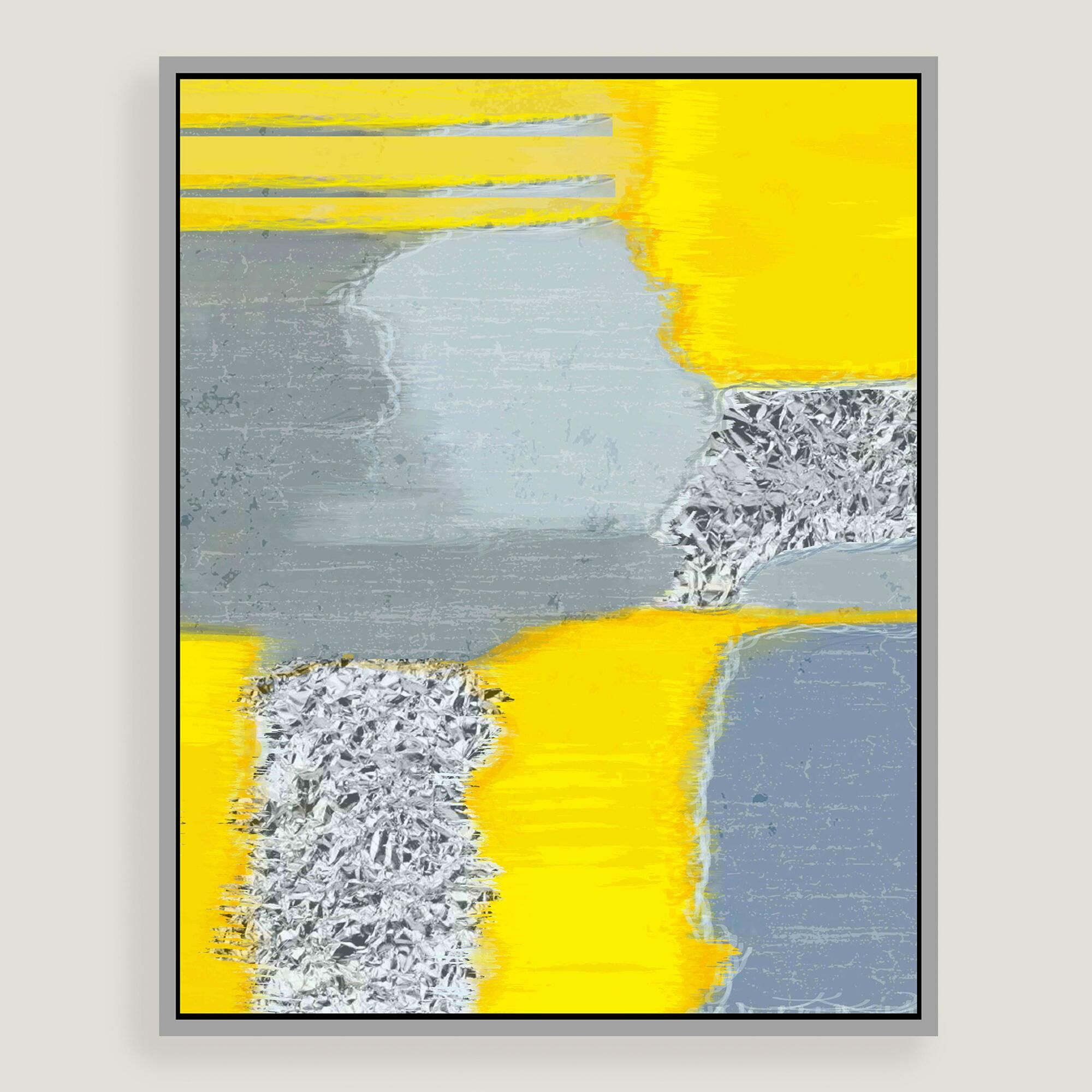 This abstract piece showcases bright yellow and silver leaf ...