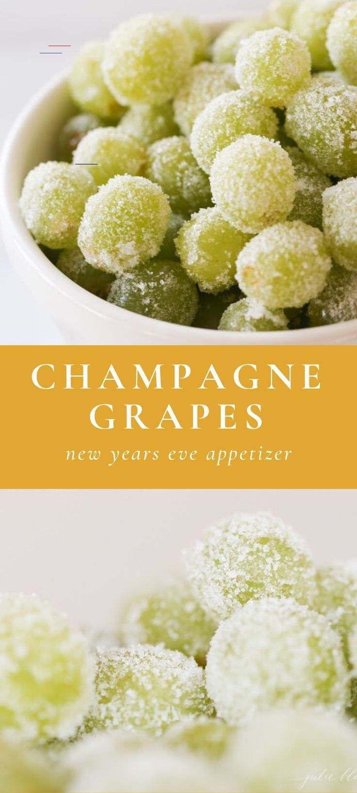 Ring in the year with sweet, sparkling Sugar Champagne Grapes – a poppable appetizer or dessert that will have everyone raving! <a class=pintag href=/explore/grapes/ title=#grapes explore Pinterest>#grapes</a> <a class=pintag href=/explore/champagne/ title=#champagne explore Pinterest>#champagne</a> <a class=pintag href=/explore/newyearseve/ title=#newyearseve explore Pinterest>#newyearseve</a> <a class=pintag href=/explore/NYE/ title=#NYE explore Pinterest>#NYE</a>  Ring in the year with sweet,