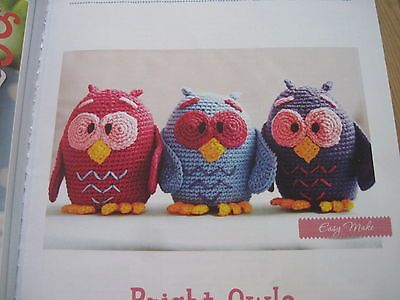 Crochet knitting pattern small owl toys.  Approx five inches high.  Easy make