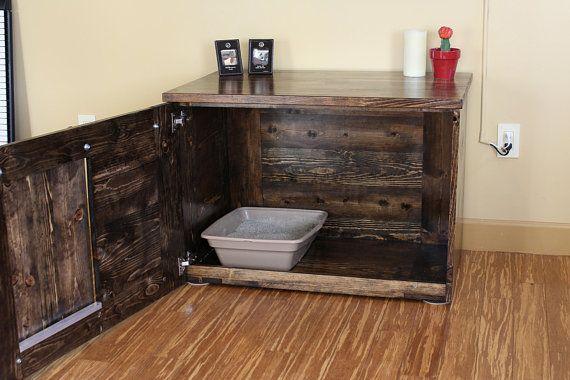 Rustic Cat Litter Box Storage Sliding Barn Doors Custom