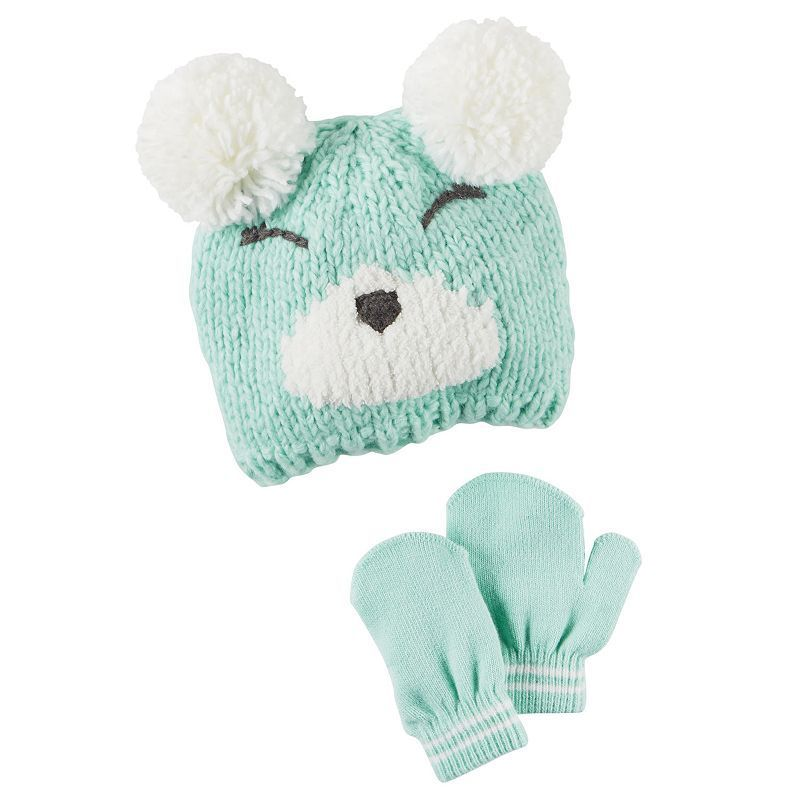 5a1be667c8b07 Toddler Girl Carter s Double-Pom Bear Hat   Mittens Set