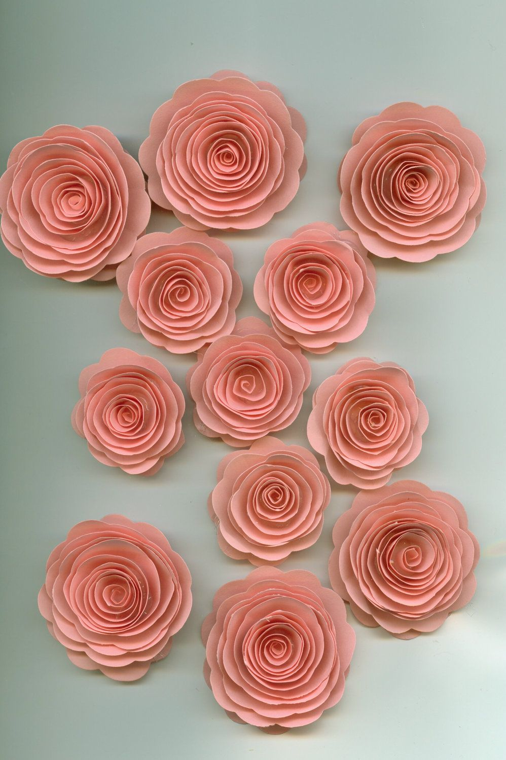 Pretty Pink Roses Spiral Paper Flowers Large Lot Flowers Crafts