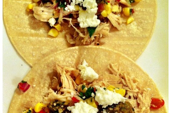 Tequila and Cherry Tomato Shredded Chicken Tacos with Fresh Corn Salsa, a recipe on Food52