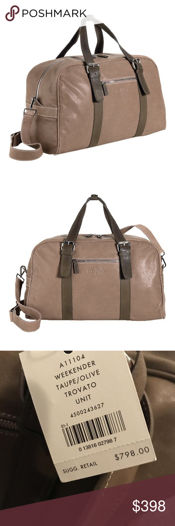 "a46722a9537 🆕Cole Haan Trovato Leather Weekender/Travel Bag Taupe/Olive, 24"" L x 10"" W  x 12"" H. Gold hardware. Lock has no key. Cole Haan Bags Luggage & Travel  Bags"