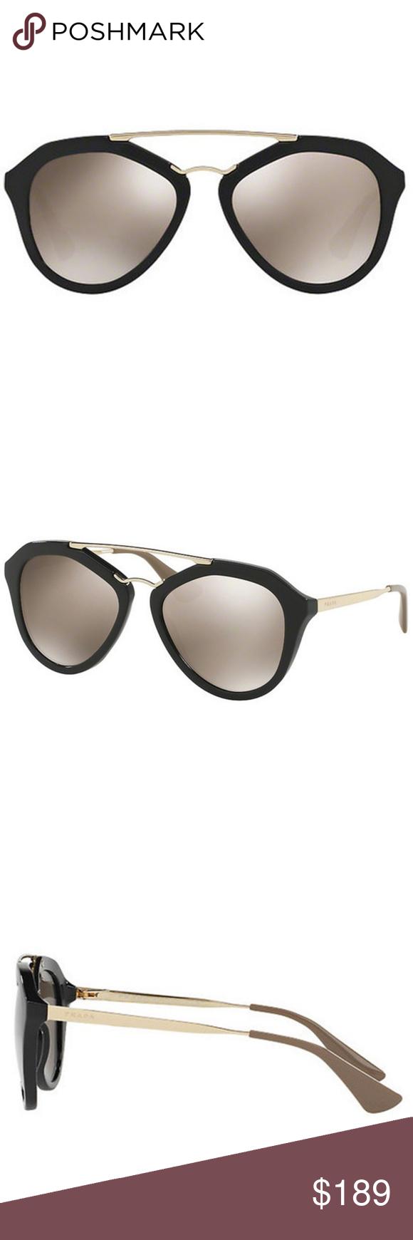 28c0de9a8ada Prada Sunglasses Cinema Black w Brown Mirror Gold Prada Pilot Style Women s  Sunglasses 54mm Lens Size Having Black Color Plastic   Metal Frame with  Light ...