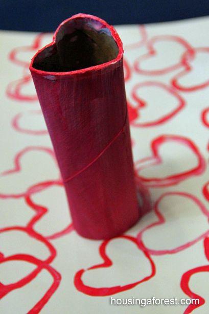 Stempel aus einer alten Klopapier- oder Küchenrolle   basteln mit ...