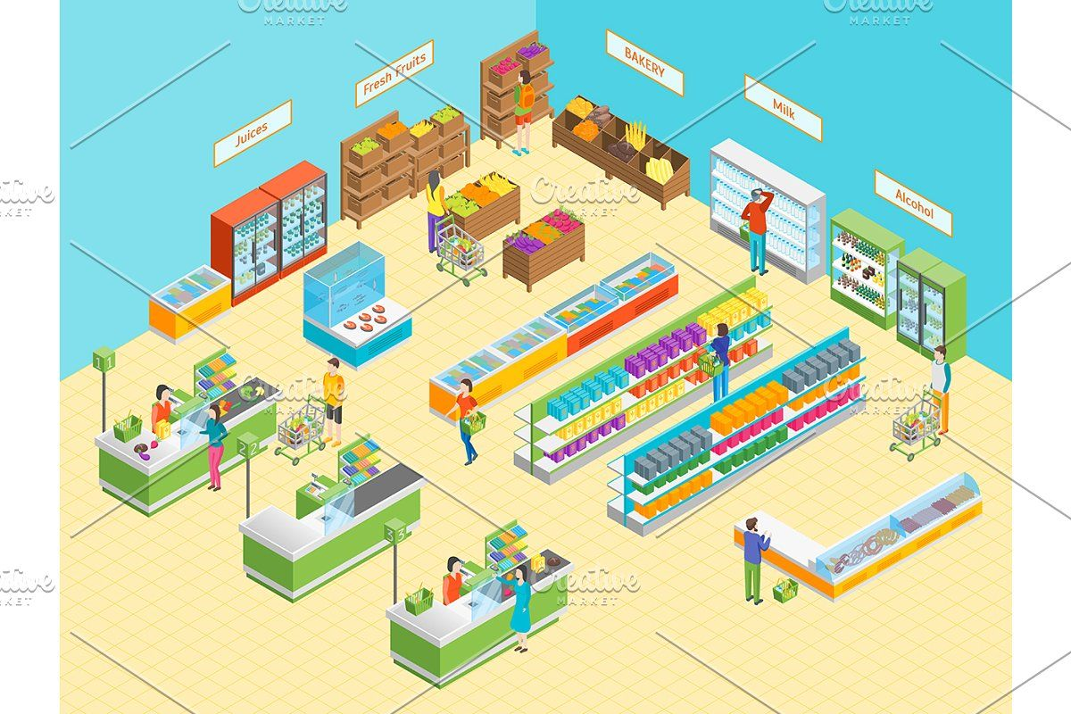 Supermarket or Shop Isometric View. Isometric