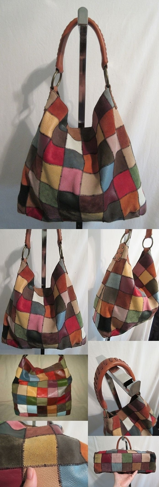 Lucky Brand Large Vintage Inspired Multi Color Leather Patchwork Hobo Purse Bag