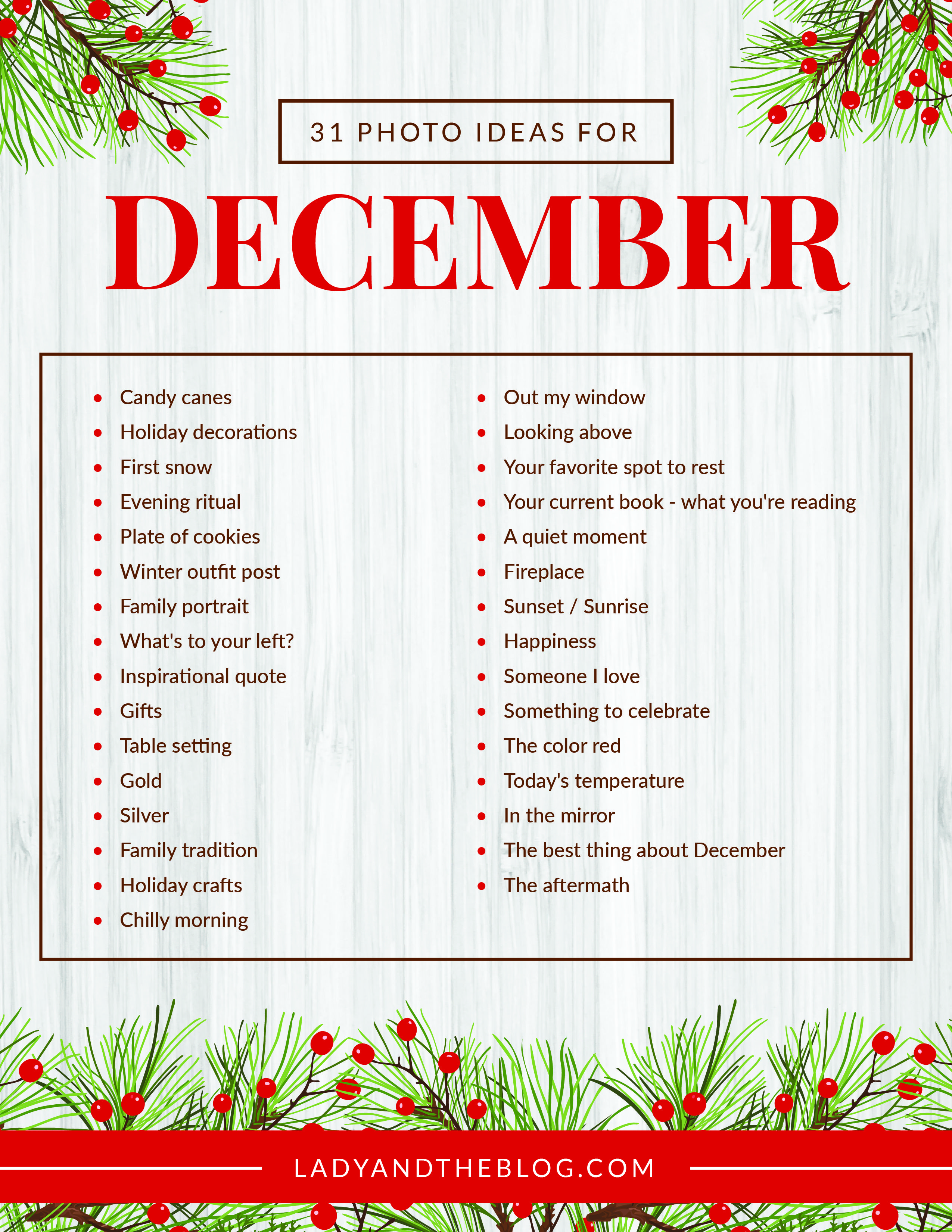 December Photo Challenge – Photo A Day Printable