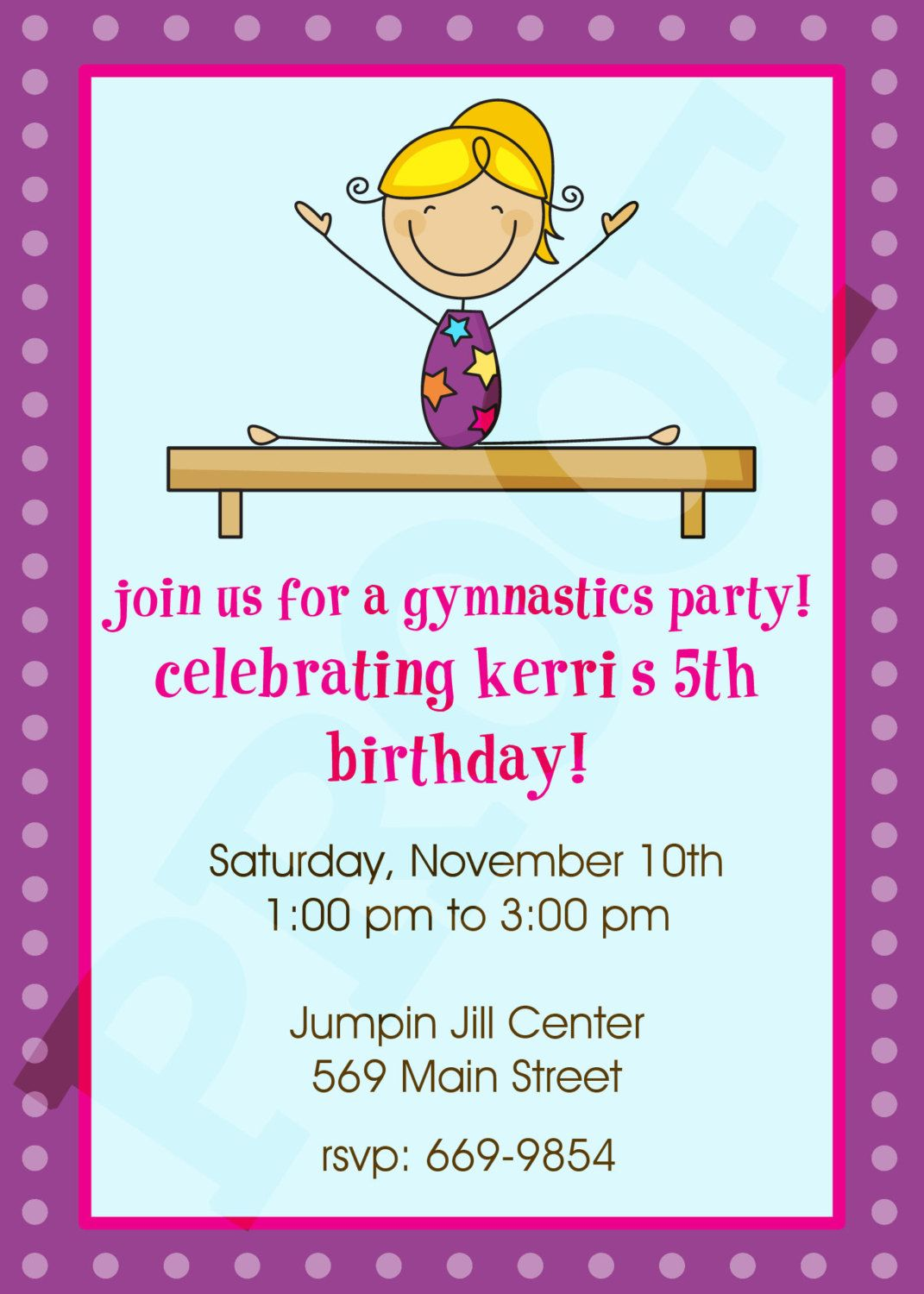 Cool Free Printable Gymnastic Birthday Invitations