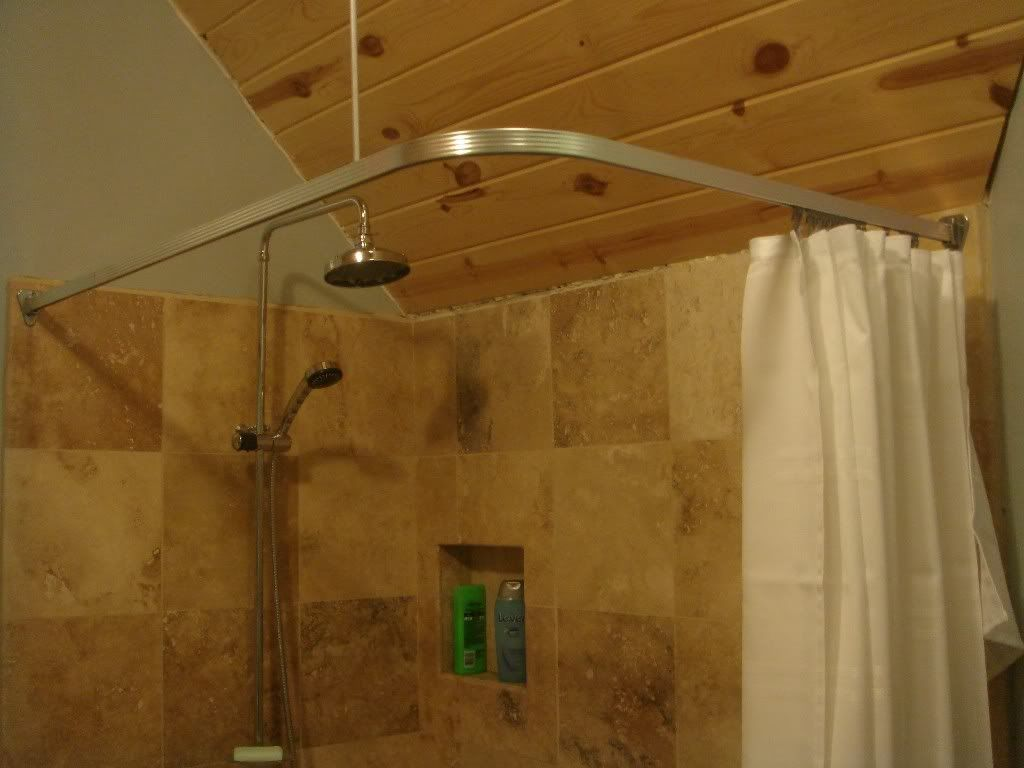 Corner shower curtain rod track style universal sizechrome by
