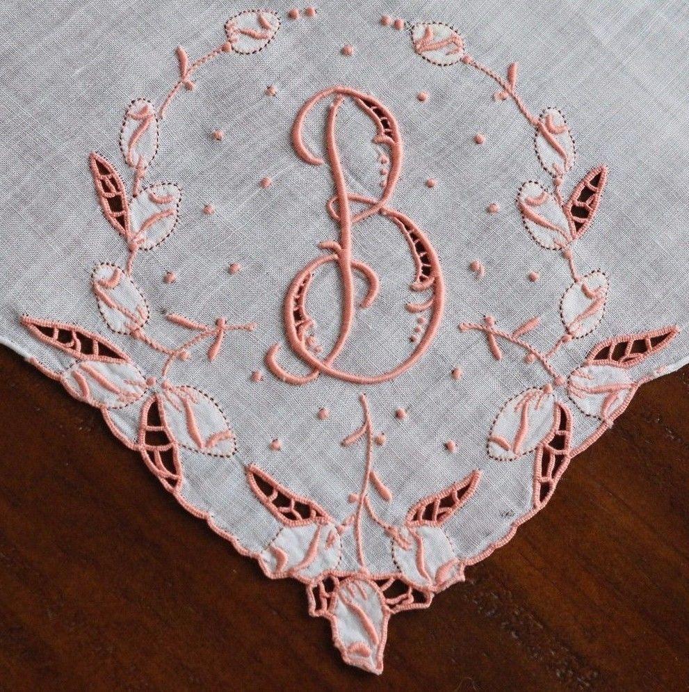 Darling Vintage Madeira Hanky Monogram B Hanky w/ Cutwork & Applique Rosebuds #Madeira