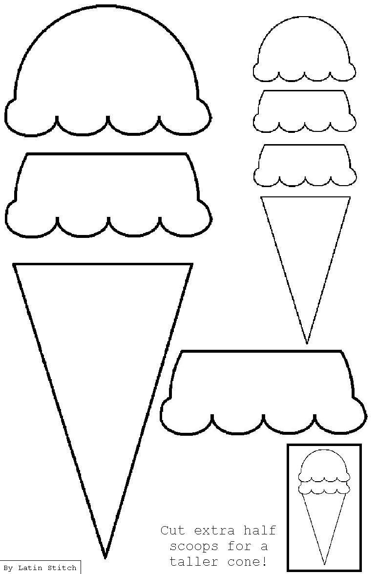 ice cream cone appliqué template applique svg embroidery ice