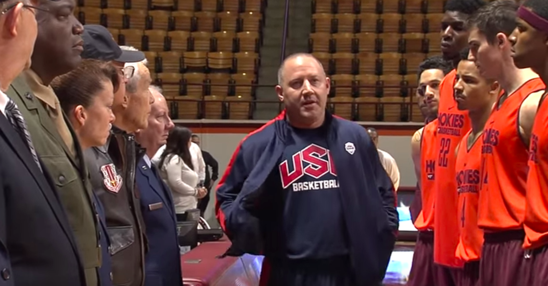 Coach Brings Veterans Onto Court, Teaches Players To Honor