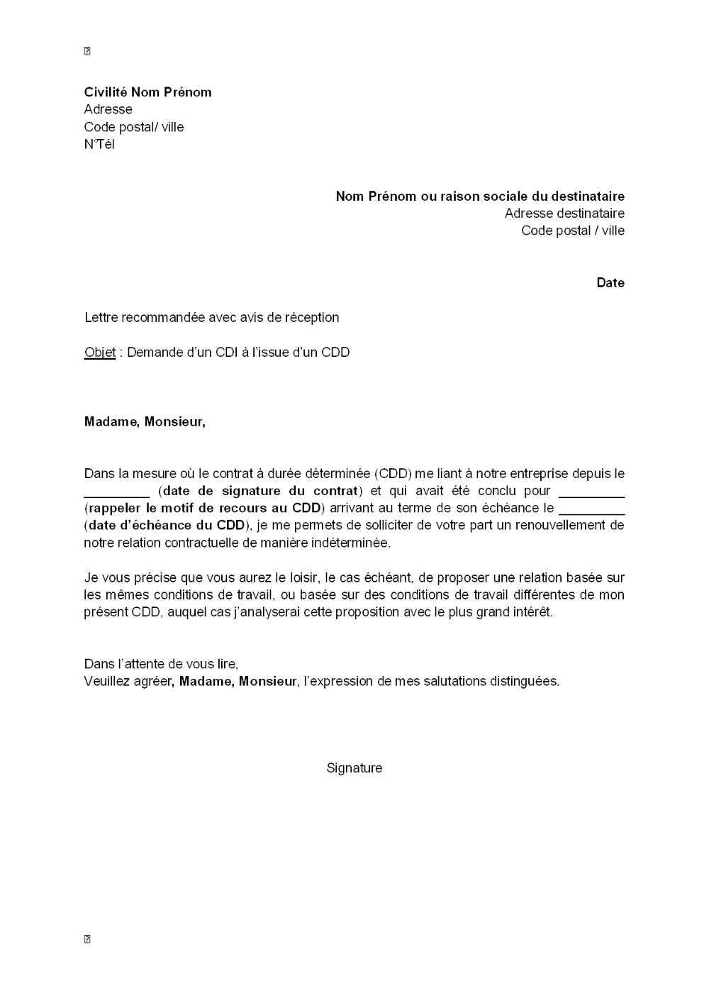 Lettre De Demande D Un Cdi à L Issue D Un Cdd Modèle De