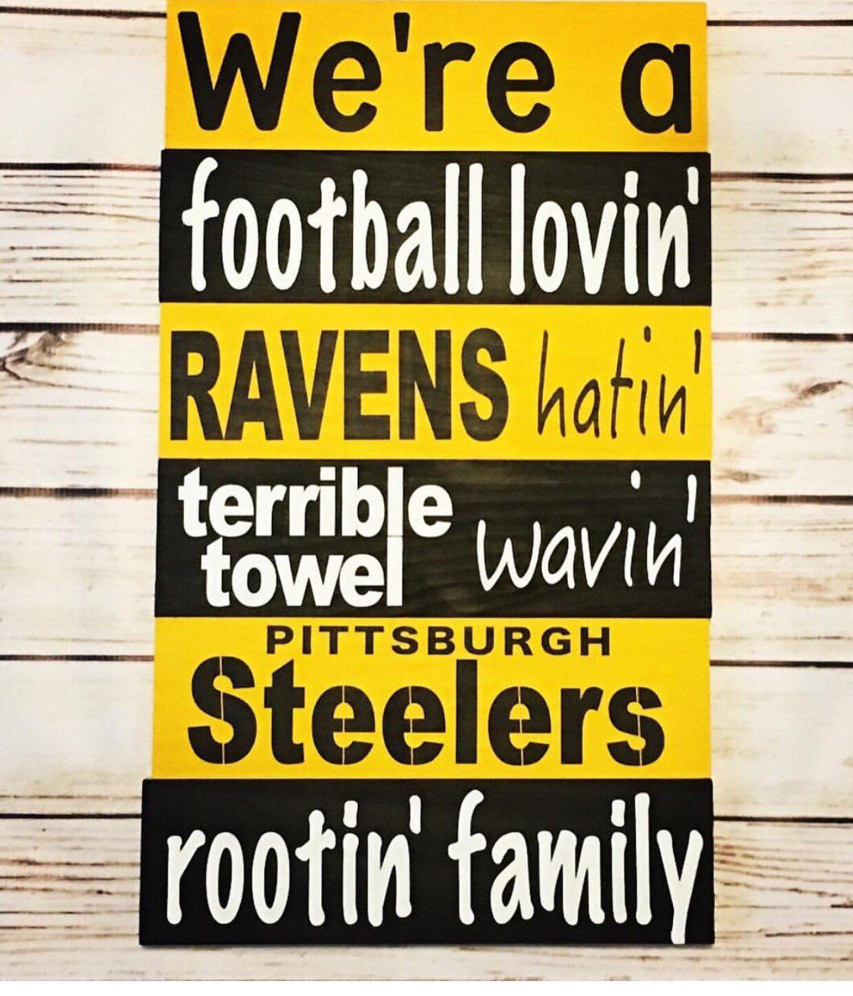Hand painted steelers sign pine wood clear acrylic sealed custom logo saying approximately x