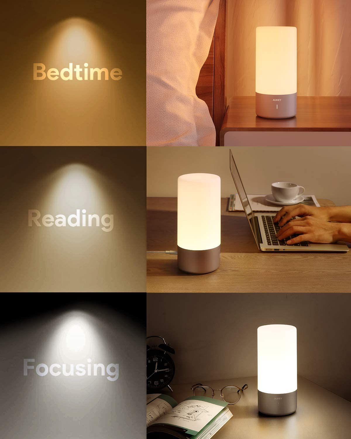 Aukey Table Lamp Touch Sensor Bedside Lamp Color Changing Rgb Dimmable Warm White Light Night In 2020 White Light Bedside Lamp Night Light