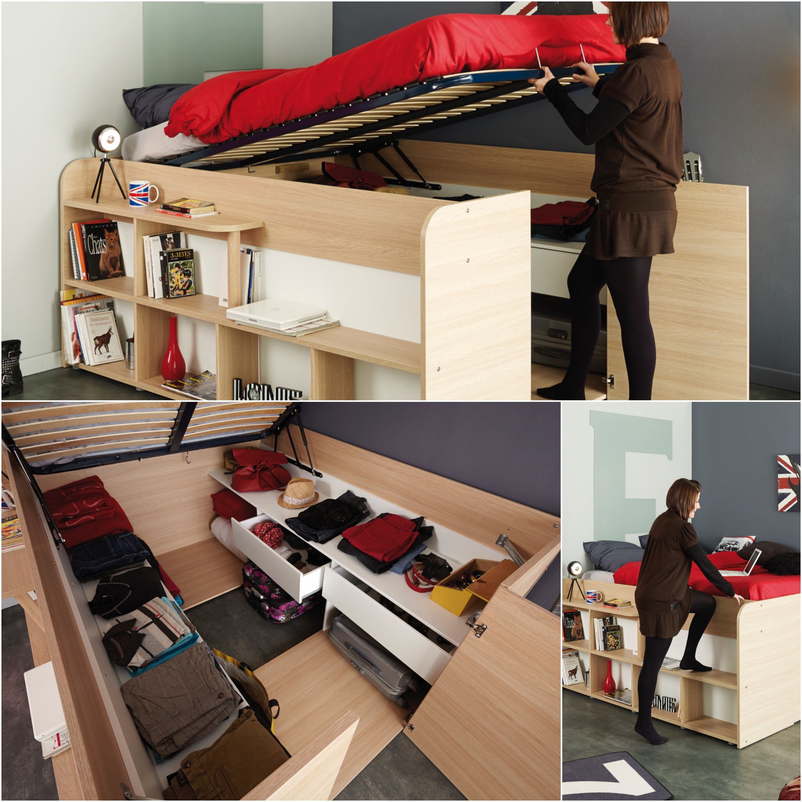 Space Up By Parisot Meubles Sapce Up Was Designed For Small Spaces A Combined Bed With Bedding For 2 Persons And A Real Dressing Under The Bed Created Hogar