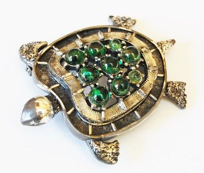 Gorgeous Vintage Tortolani Turtle Brooch Pin with Green Glass Stones