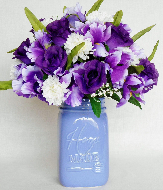 Artificial flower arrangement purple iris purple rosebuds white artificial flower arrangement purple iris purple rosebuds white pin cushions lavender vase izmirmasajfo
