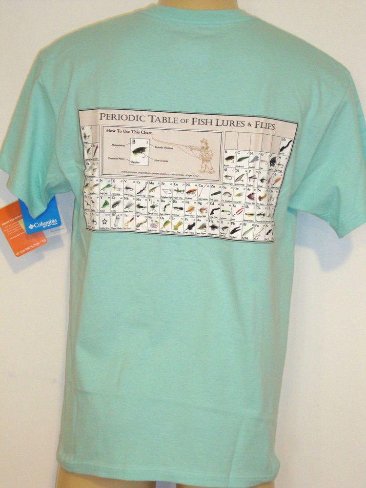 Periodic table of fish lures flies columbia sportswear t for Custom periodic table t shirts