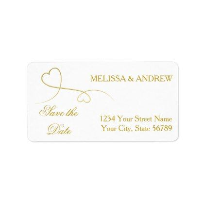 Save the Date Two Elegant Gold Hearts Wedding Label Wedding - wedding labels template