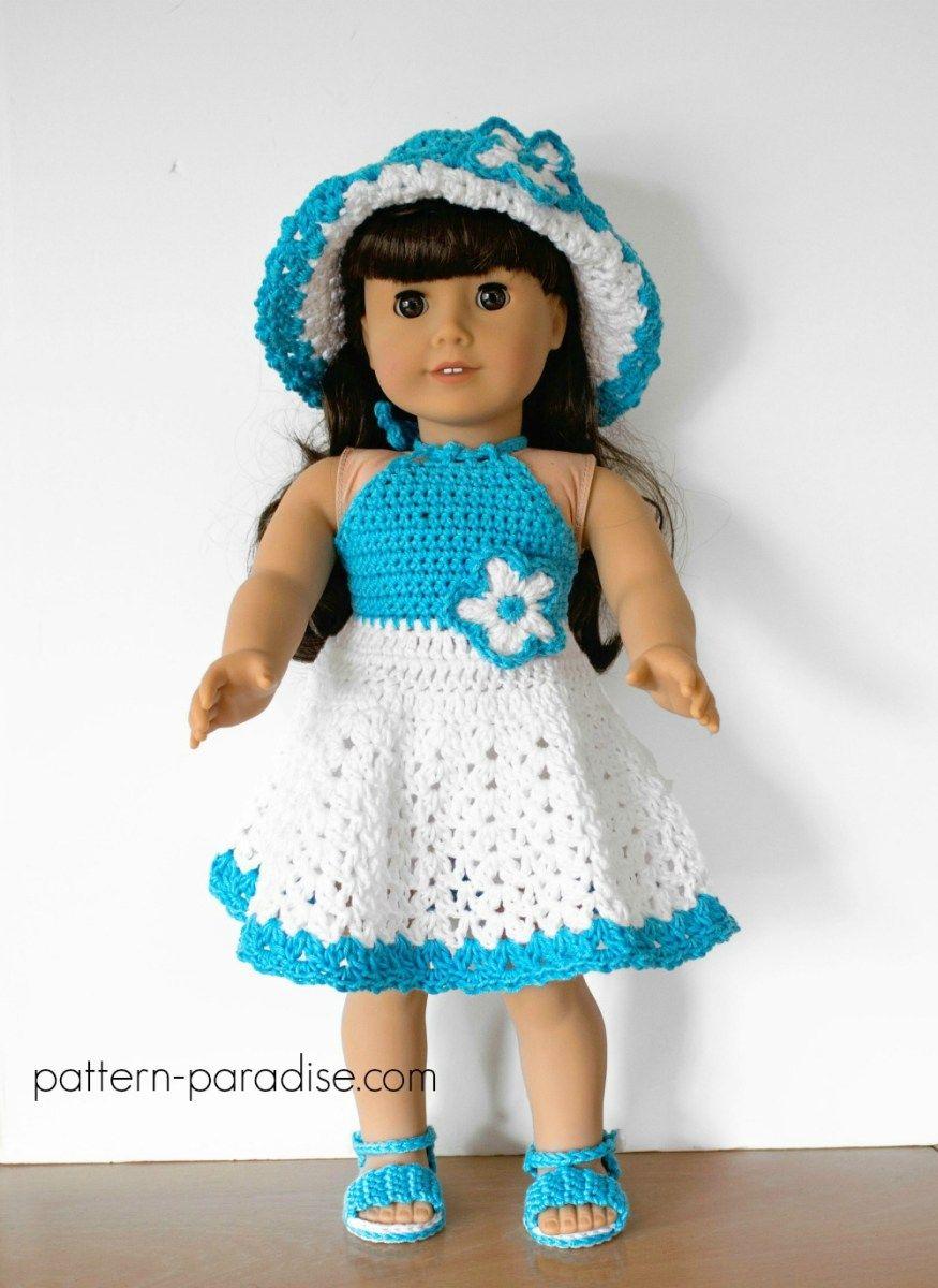 Crochet Pattern: Dolly Halter Dress Set   Häkeln