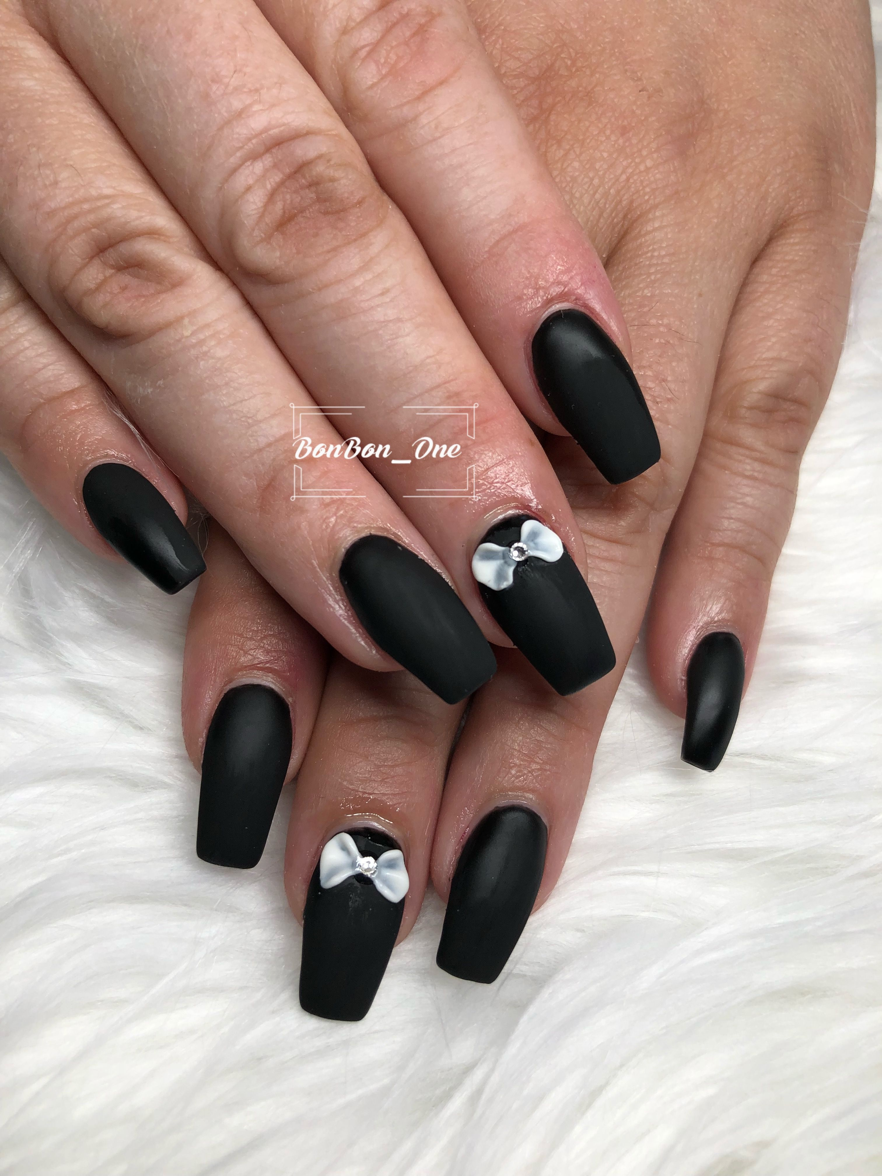 Black And Matte Top Coat It S Look Great With The 3d Bows Design Short Coffin Shape Nails Nail Art Bow Design