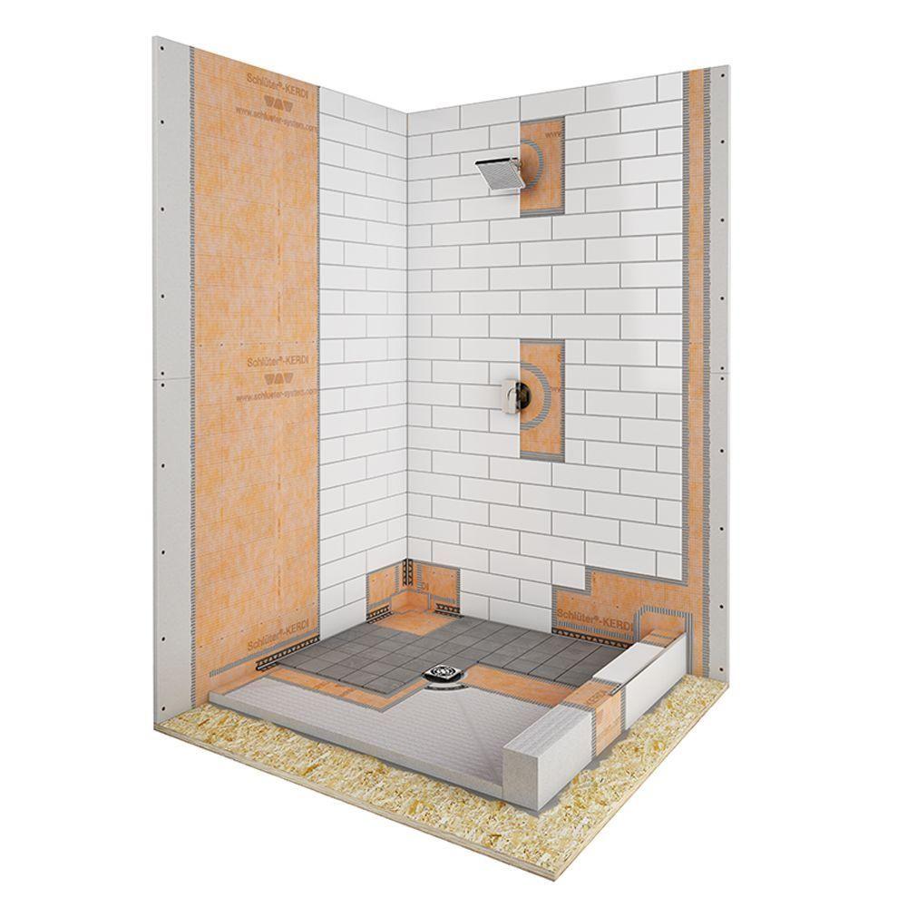 Schluter Kerdi Shower 32 In X 60 In Off Center Shower Kit In Pvc