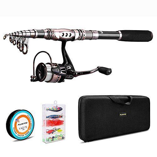 Lixada Ca/ña de Pesca y Carrete Combo Set Ca/ña de Pesca Spinning con Carrete Carretes con Accesorios de Pesca