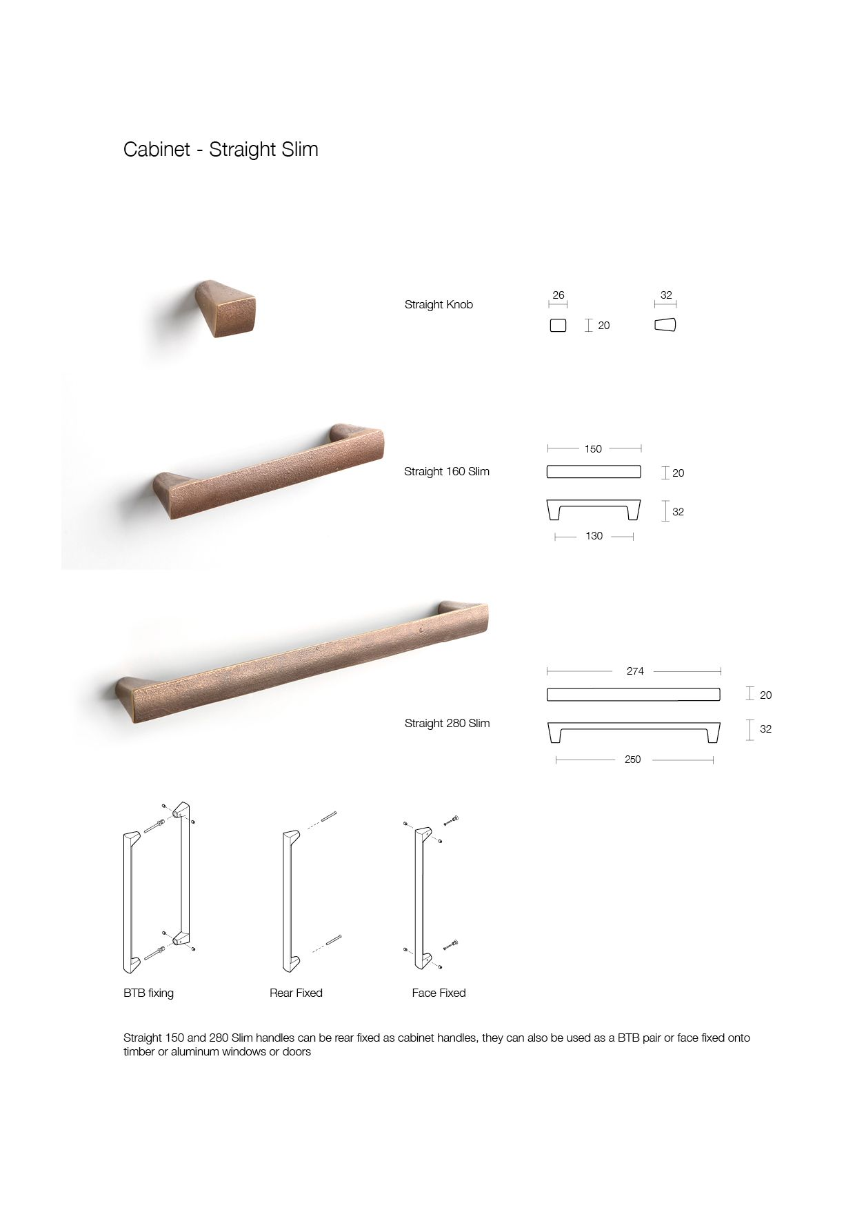 bronze cabinet handles, showing dimensions and fitting instructions