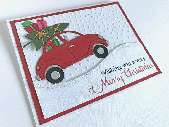 Car Christmas Cards, Holiday Cards, Embossed Christmas Card Set