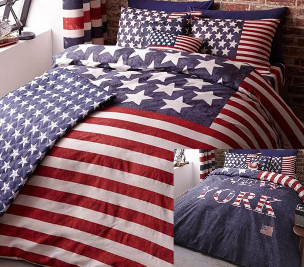 1273c2eb0a8 New York USA American Flag Stars Stripes Reversible Bedding Range Red Navy  Blue in Home