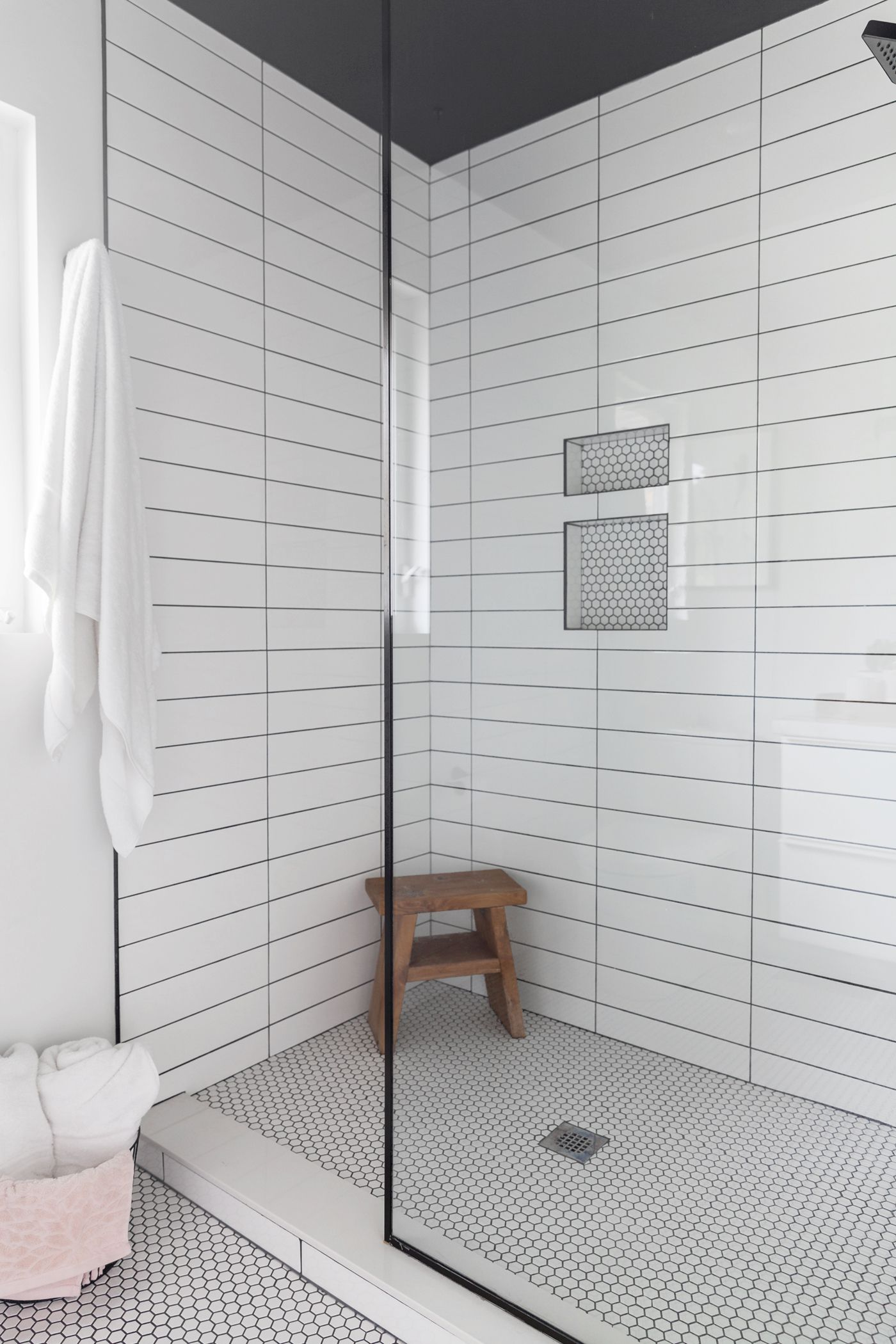 Oversized, stand-up shower boasting two different kinds of #tiles ...