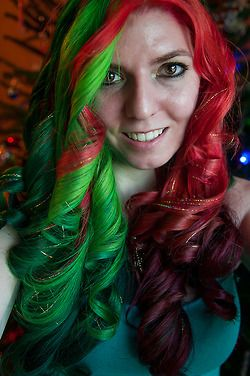 defiantly the best christmas colored hair ive seen so far i got motivated enough to curl the christmas hair today i also added a few more strands of