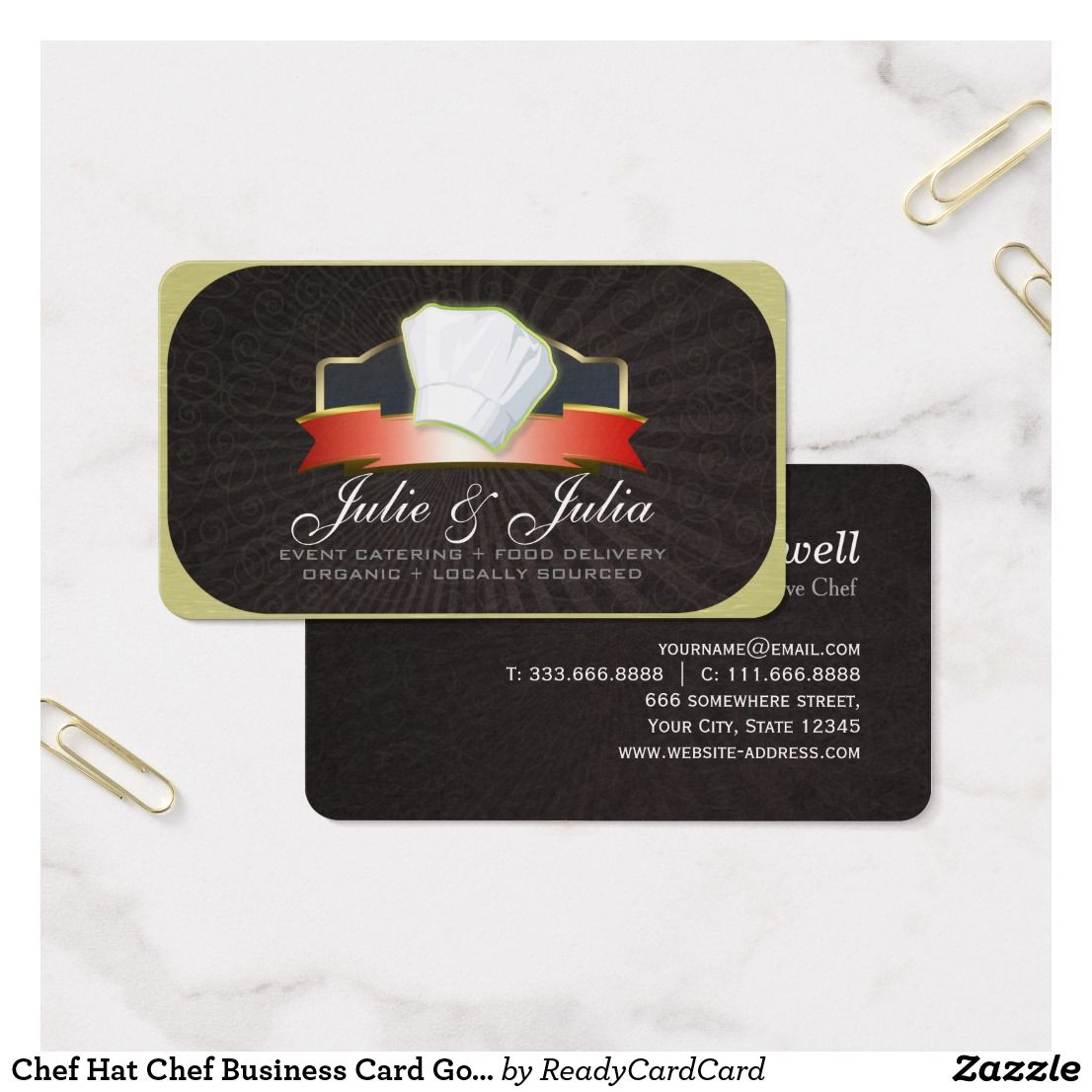 Chef Hat Chef Business Card Gold & Red Ribbon