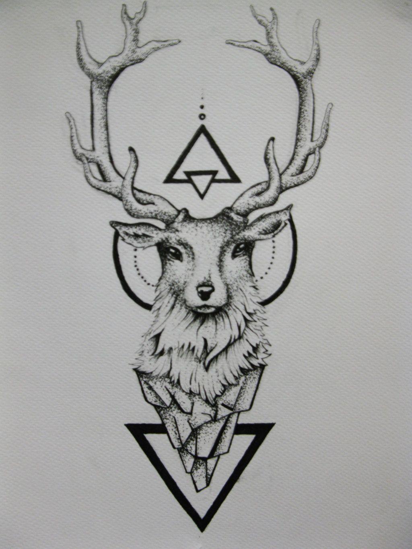 geometric triangles and deer head tattoo design tatoos pinterest rh pinterest com deer head tattoos pictures deer head tattoo geometric
