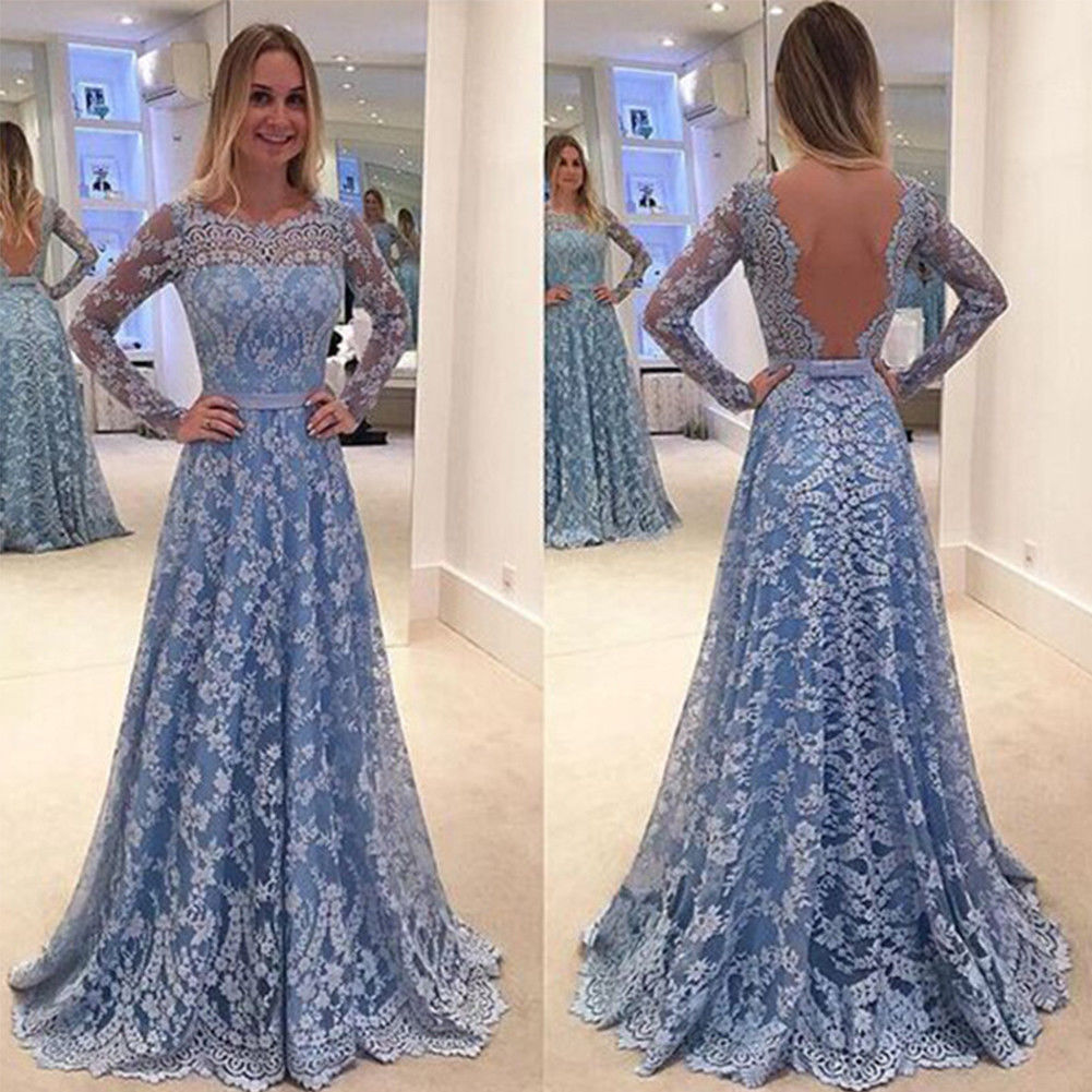 Women long evening gown sheer long sleeves lace a line prom