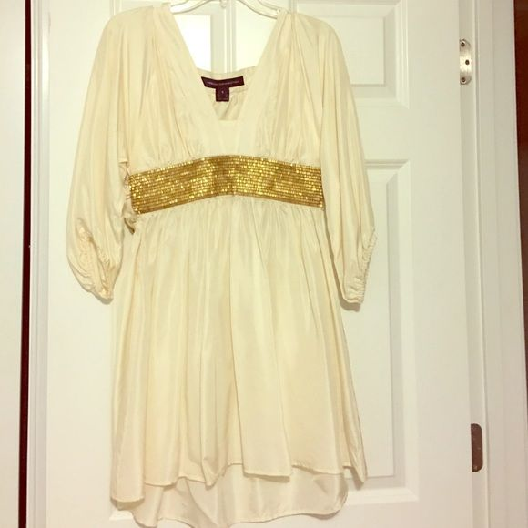 Greek Goddess Silk Dress French Conn. Great cond. 100% Silk! Creme color with gold beading. Looks absolutely fabulous on! Worn only a few times! French Connection Dresses Midi