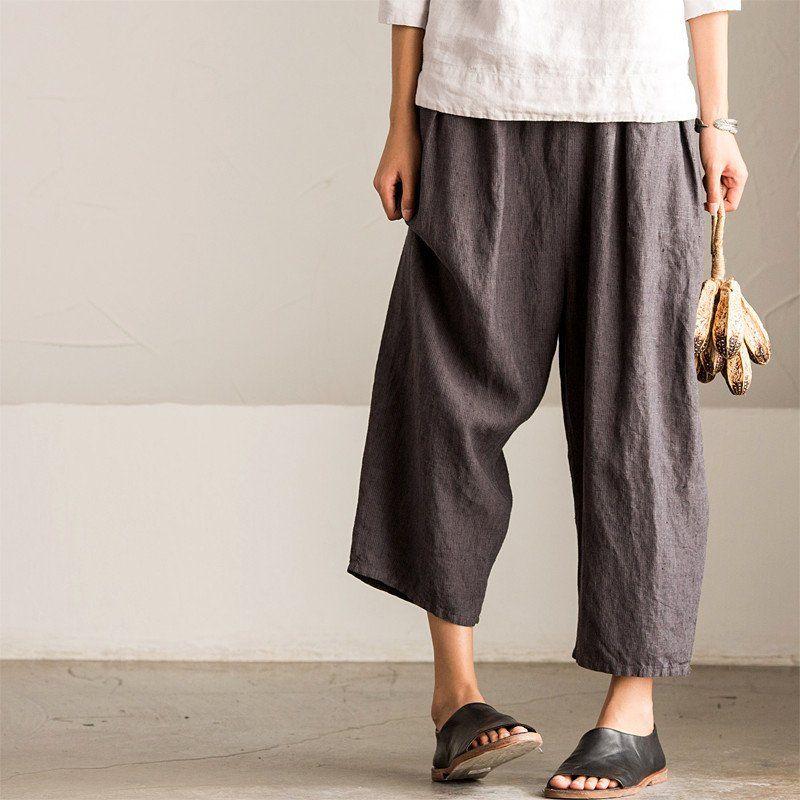Vintage Loose Stripe Cotton Linen Pants Women Clothes K8086A ...